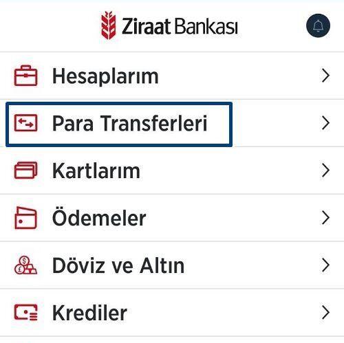 Ziraat Bankası Cebe Havale İşlemi Giriş Menüsü